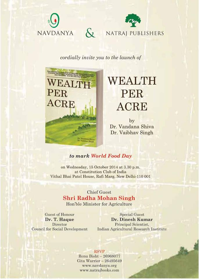 "India's Agriculture Minister Releases new book ""Wealth per Acre"""