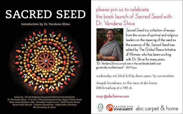 'Sacred Seed' Book Launch – with Dr. Vandana Shiva