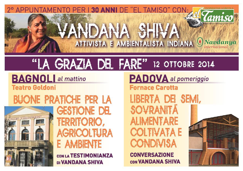 """""""La Grazia del Fare"""", 2° appuntamento per i 30 anni de """"El Tamiso"""" con Vandana Shiva"""