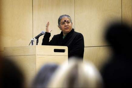 Stefan Hard / Staff Photo Anti-GMO activist Vandana Shiva speaks about the effects of GMO crops in her home country of India and other developing countries Monday in a lecture attended by more than 200 at Vermont Law School in South Royalton. Shiva said she strongly supports Vermont's new GMO labeling law.