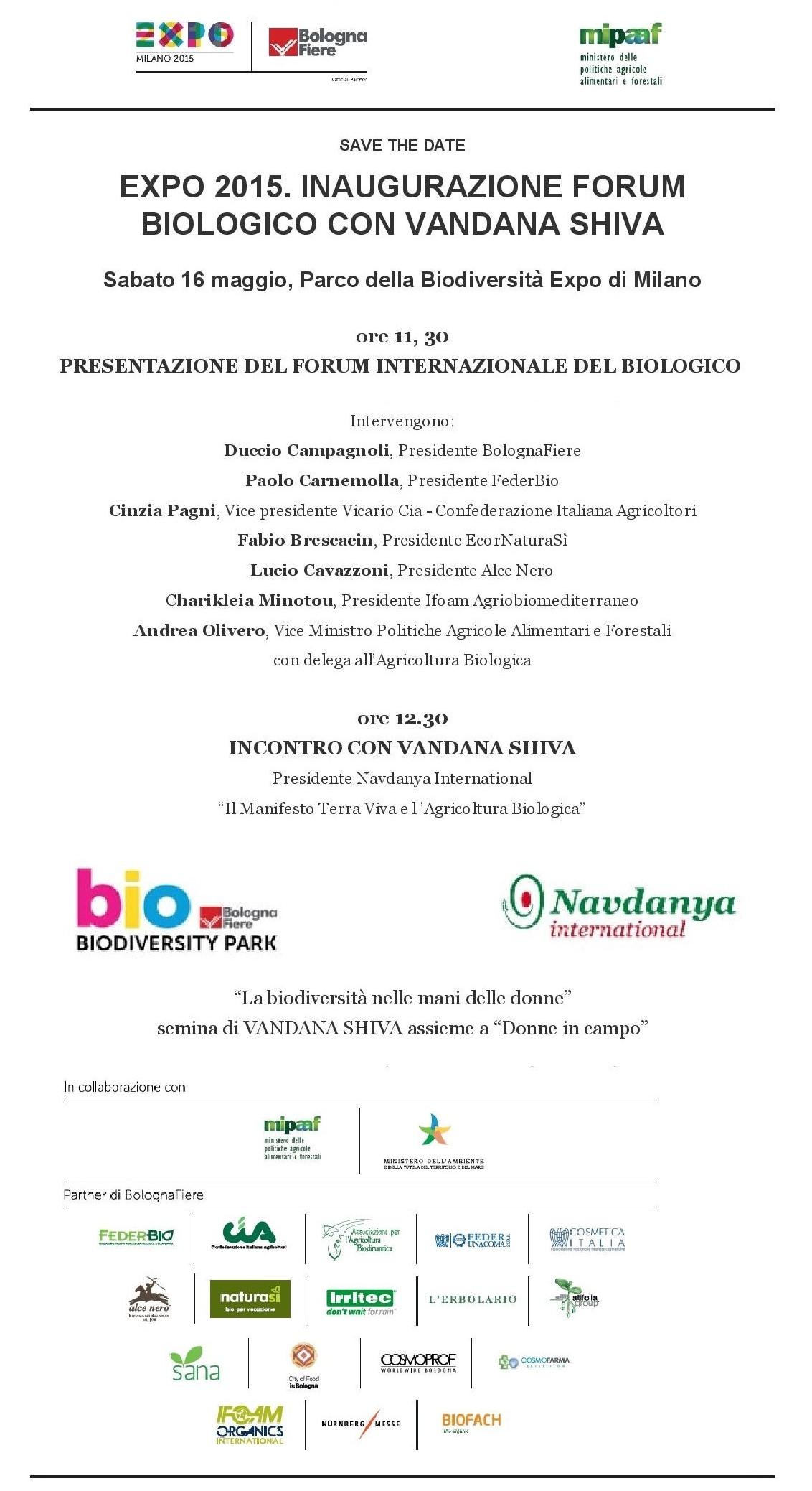 Vandana Shiva inaugura forum biologico