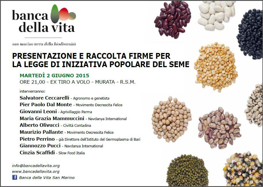 Presentazione e raccolta firme per la legge di iniziativa popolare del seme