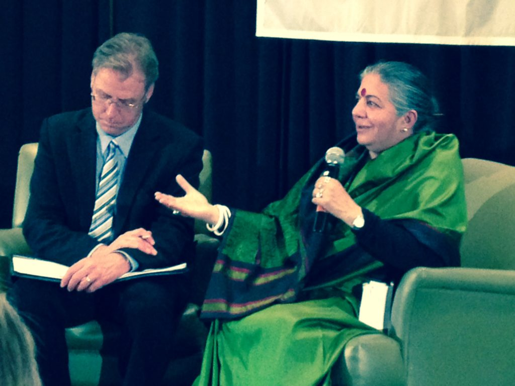 andana Shiva speaks to Public Interest Alberta director Bill Moore-Kilgannon in Edmonton on April 11, 2014.
