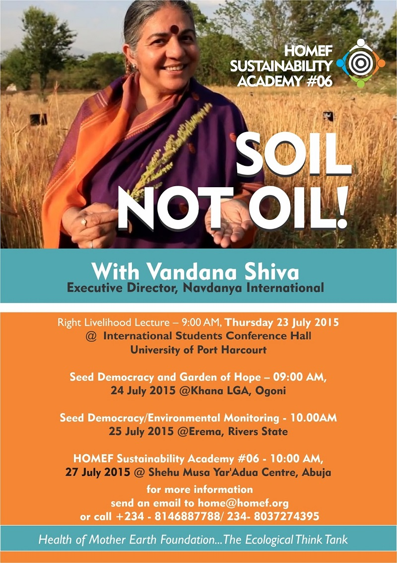 Soil Not Oil: Vandana Shiva to speak in Nigeria