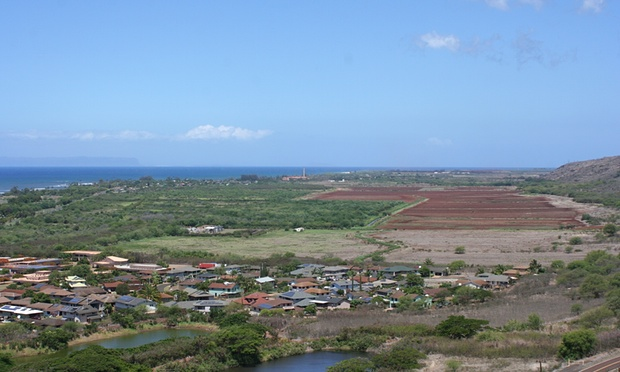 Waimea and the GMO fields. The two orange-roof buildings at bottom left are the Middle School. The one to its right is the hospital. Photograph: Christopher Pala for the Guardian