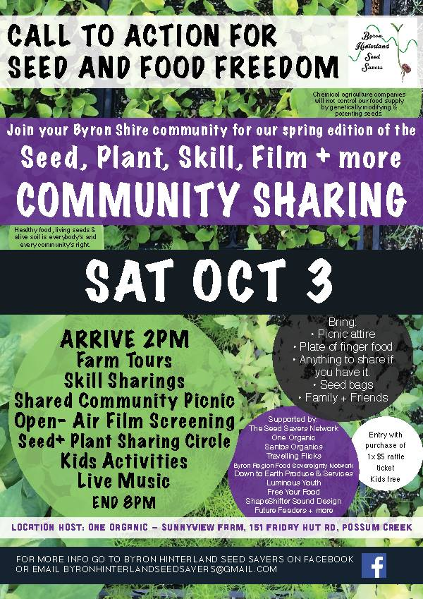 The Byron Shire Community Sharing: Seeds, Plants, Skills, Knowledge, Film + more