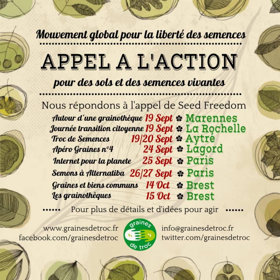 Agenda des graines – Nous répondons à l'appelle de Seed Freedom