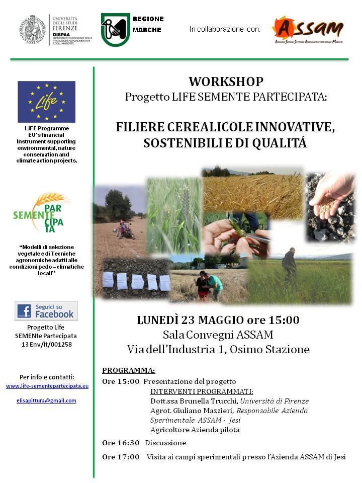 Workshop Progetto LIFE SEMENTE PARTECIPATA - Filiere cerearicole innovative, sostenibili e di qualità