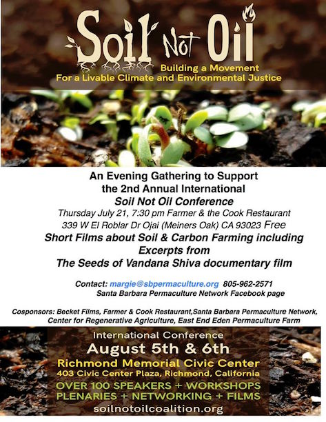 An Evening Gathering to Support  the 2nd Annual International Soil Not Oil Conference