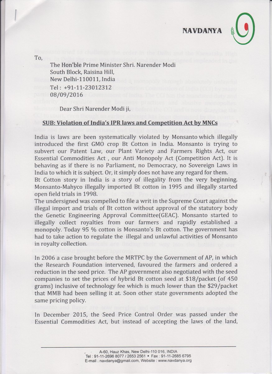 Monsanto Quit India - Letter to PMO