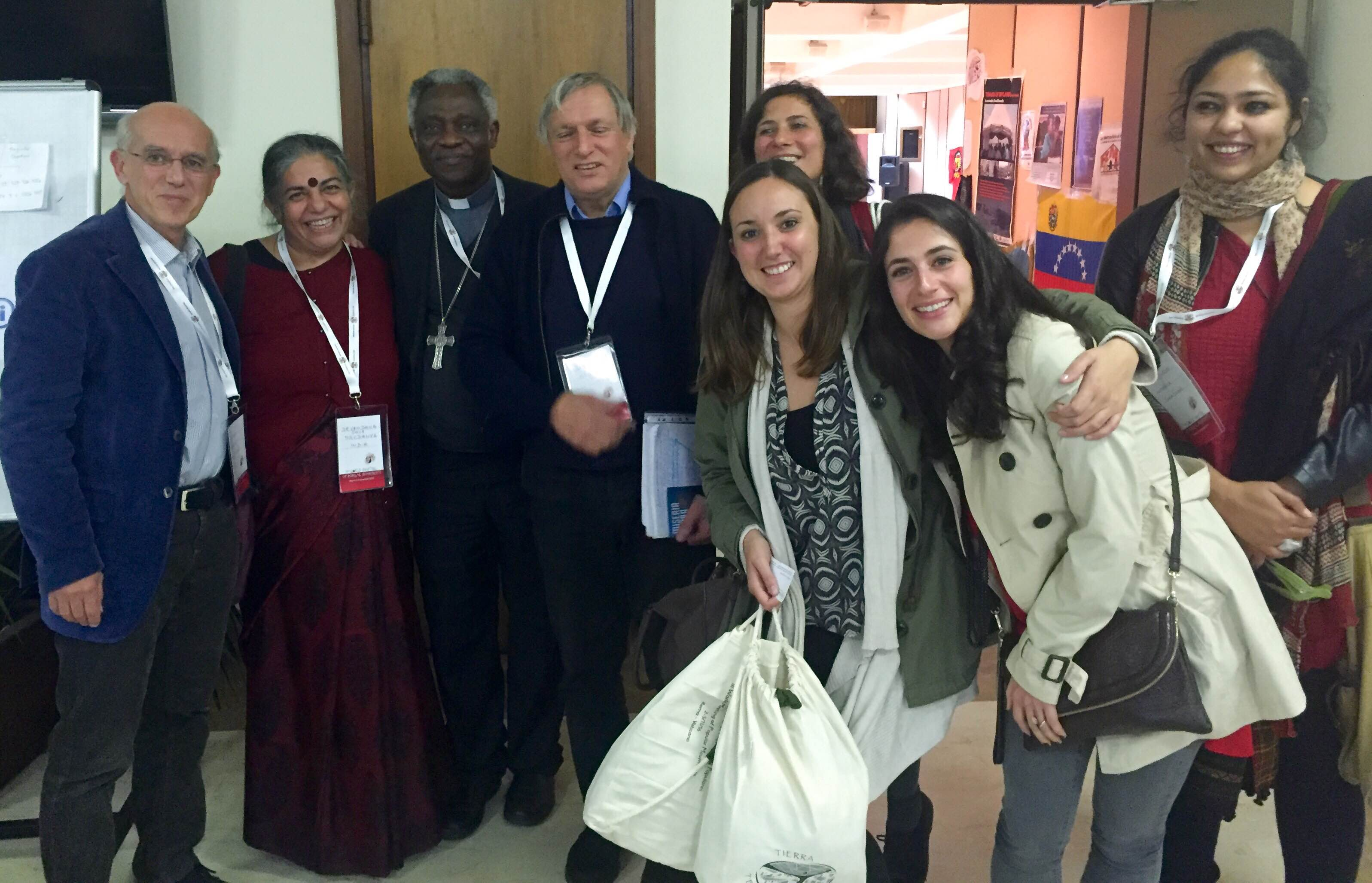 Dr Vandana Shiva and Ruchi Shroff of Navdanya, with Don Luigi Ciotti and Cardinal Turkson