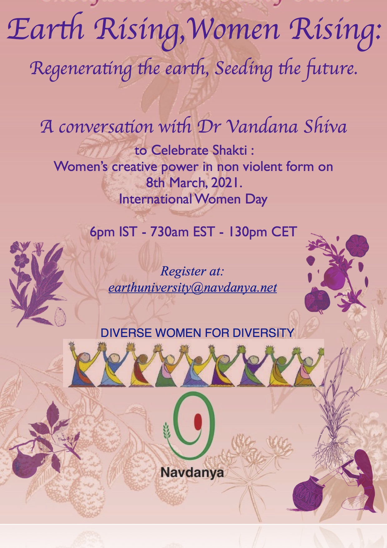 Earth Rising, Women Rising – Regenerating the earth, Seeding the future: A conversation with Dr Vandana Shiva